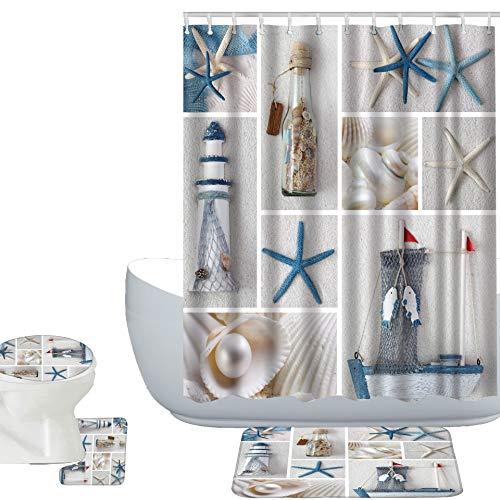 Amagical Summer Sea Stars Ship Bottle Seashell Pearl Blue Starfish 16 Piece Bathroom Mat Set Shower Curtain Set Bathroom Mat Contour Mat Toilet Cover Shower Curtain with 12 Hooks (Bottle Seashell)