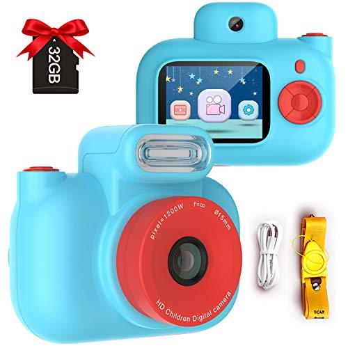 Cámara Digital para Niños, 12MP Digital Cámaras Fotos Infantil Digitales Selfie, 1080P HD Video Pantalla de 2 Pulgadas con Tarjeta TF 32GB Regalos Cámara para niños de 3 a 12 años (Azul)