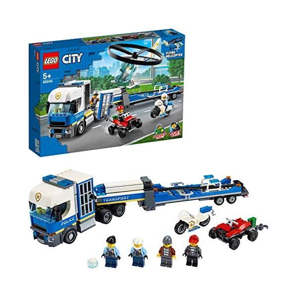 LEGO City Police - Policía: Camión de Transporte del Helicóptero, Juguete de Construcción de Aventuras, con un…