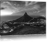 Kapstadts Löwenkopf Tafelberg Kunst B&W, Format: 80x60 auf
