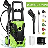 Electric High Pressure Washer with 2880 PSI, 1.7GPM 1800W Power Washer with Spray Gun, (5) Interchangeable Nozzles, Rolling Wheels