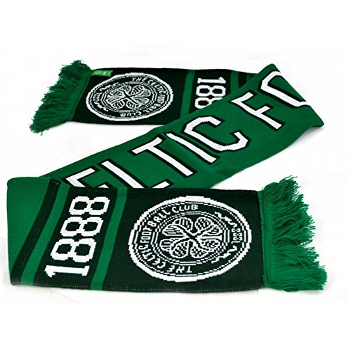 Celtic FC Official Soccer Nero Jacquard Scarf (One Size) (Green/Dark Green/White)