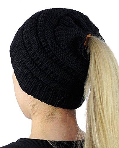 Supstar Damen Mädchen Gestrickt verdicken Hut Mit Zöpfen Loch Loop Strickschal Strickmütze Wintermütze