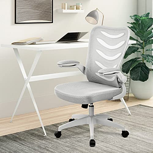 Comhoma Office Chair Ergonomic Desk Chair Mesh Computer Chair with Flip Up Arms Lumbar Support Swivel Adjustable Mid Back Task Chair for Conference Home Office Gray