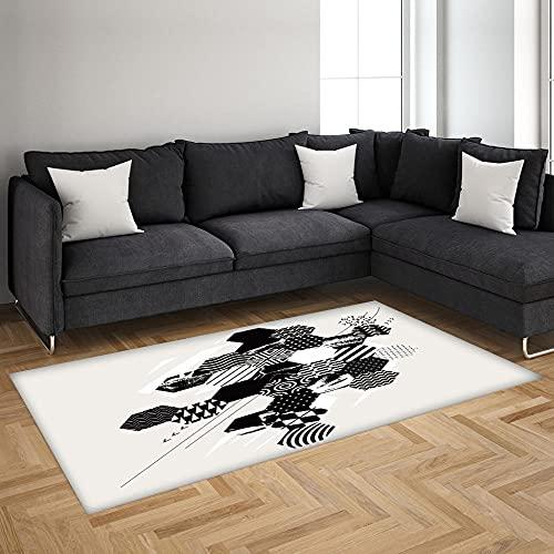 Alfombra Antideslizante Impresa En 3D Patrón Hexagonal Blanco Y Negro Alfombra De Franela Suave,Adecuada para Sala De Estar Y Dormitorio 120X170 Cm