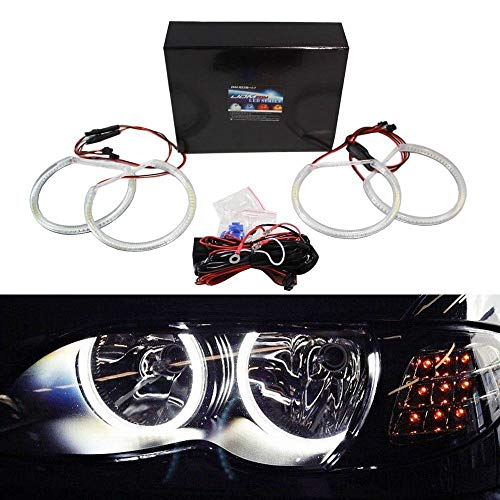 iJDMTOY 7000K Xenon White 284-SMD LED Angel Eyes Halo Ring Lighting Kit Compatible With BMW E46 3 Series Non Xenon Headlights Trims/Models
