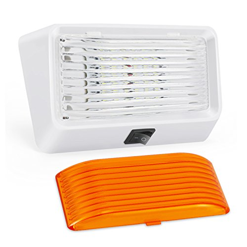 Kohree LED RV Exterior Porch Utility Light with Switch 12V Replacment Light for RVs, Trailers, Campers, 5th Wheels. 320 Lumen, White Base, Included Clear and Amber Lenses Removable