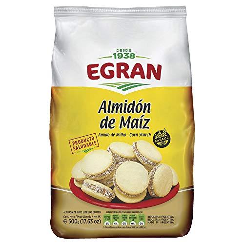 Egran- Almidón de Maíz - Libre de Gluten - Sin T.A.C.C. - Ideal para Preparar Alfajores de Maicena - 500 Gramos