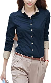 Womens Buttoned Western Office Long-Sleeves Slim Plus Size Tops