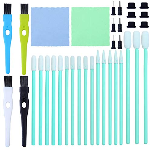 Aneco 58 Pieces Cell Phone Cleaning Kit Brush Set USB Charging Port Headphone Jack Cleaning Kit and Dust Plug Compatible with iPhone iOS Android Cell Phone Electronics Cleaner