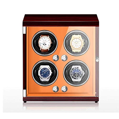 QCHEA Reloj automático de la devanadera, Watch Winder Prueba de Polvo La Caja de bobinado con el Modo silencioso y Motor, la lámpara LED y Anti-magnetización Reloj Caja de Almacenamiento (Color : A)