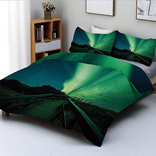 Juego de funda nórdica, puente de madera, cielo solar, rayos radiantes escénicos, paisaje mágico ártico, juego de cama decorativo de 3 piezas con 2 fundas de almohada, verde helecho, azul oscuro, el m