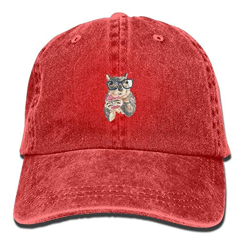 MERCHA Squirrel Glasses and Dessert Snapback Unisex Adjustable Baseball Cap Dad Hat Red