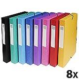 Exacompta 50400E Packung (mit 8 Archivboxen aus Manila Karton, DIN A4, mit Gummizugverschluß, Rücken 40mm) farbig sortiert, 8 Stück