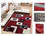 Alfombra de Salón Frise Pelo Largo Tupido Cuadrados Geometricos Modernos Color (Rojo, 184_x_260 CM)