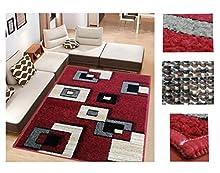 COMERCIAL CANDELA FELPUDOS Y ALFOMBRAS Alfombra de Salón Frise Pelo Largo Tupido Cuadrados Geometricos Modernos Color (Rojo, 133_x_190 CM)