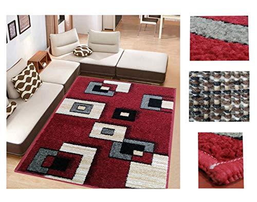 Alfombra de Salón Frise Pelo Largo Tupido Cuadrados Geometricos Modernos Color (Rojo, 133_x_190 CM)