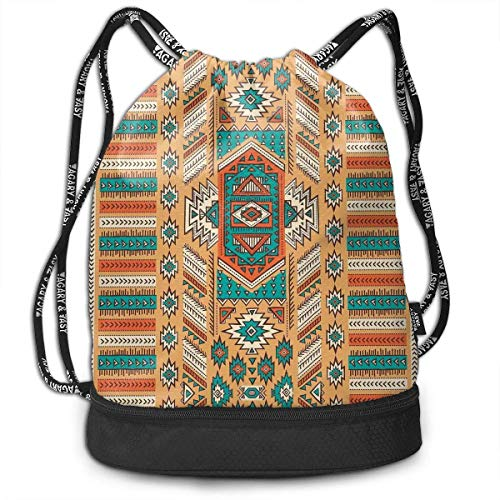 PmseK Mochila con Cordón,Bolsas de Gimnasia, Ethnic Aztec Secret Tribe Pattern Multifunctional Bundle Backpack Shoulder Bag For Men and Women
