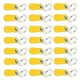Mintice 100 X Amarillo Cobre Anillo a Tope Aislado Conectores Terminales Calibre 10-12 AWG Rizar Alambre Cable Eléctrico Engarzado Crimpadora Inalámbrico M10