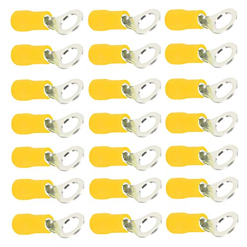 Mintice 100 X Amarillo Cobre Anillo a Tope Aislado Conectores terminales Calibre...
