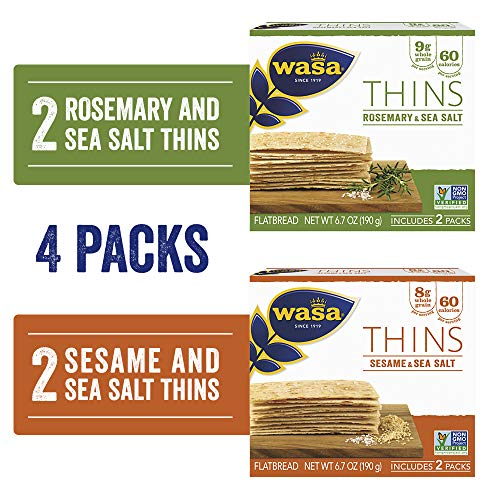 Wasa Thins Flatbread Crackers Variety 4 Pack, Rosemary & Sea Salt (Pack Of 2) & Sesame & Sea Salt (Pack Of 2), No Saturated Fat (1.5g - 2.0g Total Fat) & 0g of Trans Fat, No Cholesterol, 2.4 Lb
