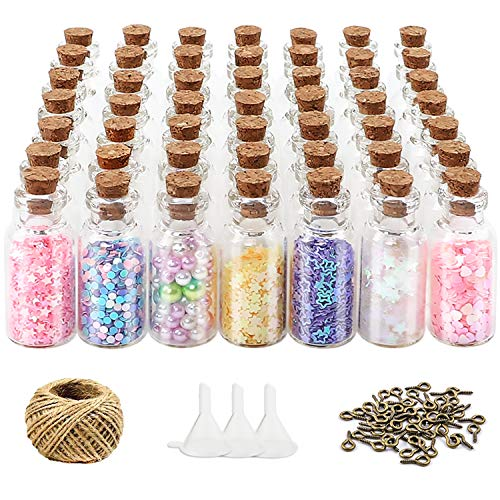HEHALI 52pcs 5ml Mini Glass Bottles Cork Stoppers Decorative Bottles Favors with 52pcs Eye Screws 30 Meters Twine 3pcs Funnel