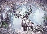 33Tdfc Arte Abstracto 1000 Piezas Familia de Ciervos en el Bosque Flores Animal Pintura al óleo Relax Mood Juegos para Adultos Rompecabezas de Madera para Navidad