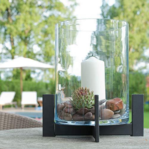 Varia Living Großes Windlicht/Laterne mit Glas aus Metall/Eisen für drinnen oder im Garten als Laterne wunderschön zum Dekorieren als Kerzenleuchter (H 38 cm/Ø 34)