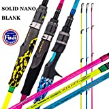 """2. GOOFISH Solid Nano Blank Slow Pitch Jigging Rod Light Shore Jigging Rod Slow Action Pitch Rod Pe 2-4 1.98m(6'6"""") (Blue(PE3-5) 1 Piece & Casting Left Spiral Guide Model, 6'6"""")"""