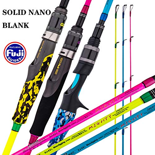 "GOOFISH Solid Nano Blank Slow Pitch Jigging Rod Light Shore Jigging Rod Slow Action Pitch Rod Pe 2-4 1.98m(6'6"") (2 Piece &Casting Model, 6'6"")"
