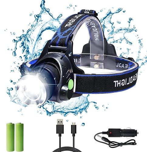 Bizcasa LED Linterna Frontal, Super Brillante Linternas frontales Zoomable Recargable 1000 Lúmenes 3 modos para Camping,Caza,Ciclismo,Trabajo,Pesca, Montañismo