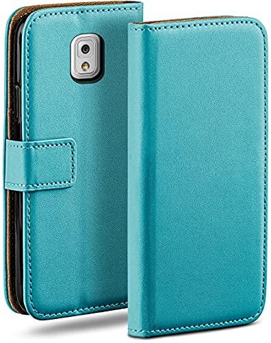 moex Klapphülle für Samsung Galaxy Note 3 Hülle klappbar, Handyhülle mit Kartenfach, 360 Grad Schutzhülle zum klappen, Flip Hülle Book Cover, Vegan Leder Handytasche, Türkis