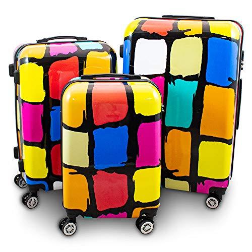 BERWIN® Design Koffer Reisekoffer Trolley Hartschalenkoffer Polycarbonat mit 4 Rollen als Set und Einzeln (Patch, 3er Set (M/L/XL))