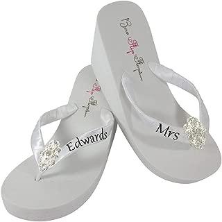 Handmade Custom Mrs new Last Name Wedding Wedge Flip Flops - White or Ivory