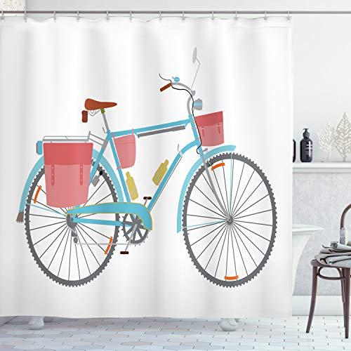 ABAKUHAUS Fiets Douchegordijn, Classic Tour Fietstassen, stoffen badkamerdecoratieset met haakjes, 175 x 200 cm, Veelkleurig