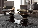 Casa Padrino Mesa de Centro Art Deco de Lujo marrón Oscuro Brillante/Oro - Mesa de salón Hecha a Mano - Mesa de Madera Maciza - Calidad de Lujo - Muebles Art Deco