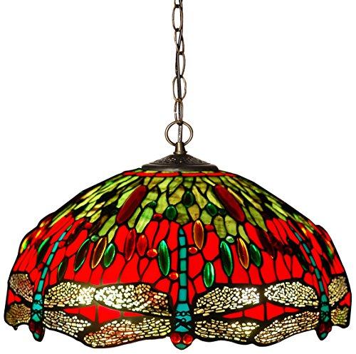 Arte Dal Mondo Hängelampe Kronleuchter dragonfly im glas tiffany-stil handwerk CD16322