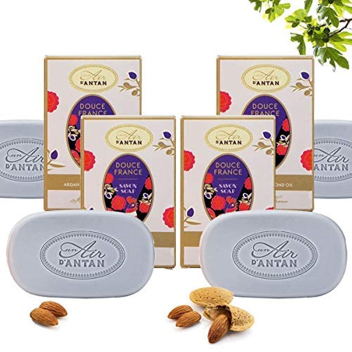 アラブサラボ革新咲くオーガニックスウィートアーモンドとアルガンオイルを豊富に含む1本の無料スウィートソープ Douce France、スイートアーモンド香水、イチジク、ベチバー、モイスチャライジングフォーミュラ、4 x 100gパック、ギフト用の箱を作るためのアイデア