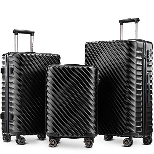 Nyyi Hard Shell Suitcases, Luggage Sets 3 Piece Lightweight 4 Wheels, Travel Case Hand Luggage Cabin, |with Lock (Dark Black)