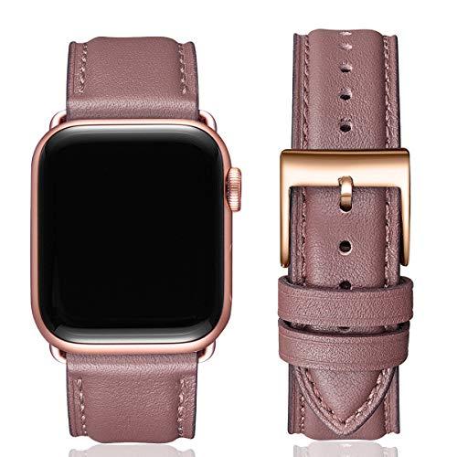 MNBVCXZ Lederbänder für Apple Watch Armband 44mm 42mm 40mm 38mm,Männer Frauen Ersatz-Echtlederband für iWatch Serie 5 4 3 2 1 Sport,Edition (42mm 44mm, Rauch lila & Rosegold)
