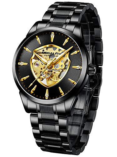 MEGALITH Relojes Hombre Relojes de Pulsera Elegante Esqueleto Automati
