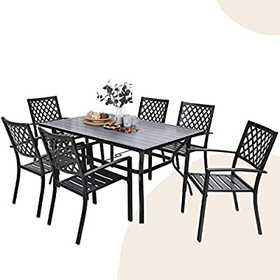 """MFSTUDIO 7 Piece Metal Patio Dining Sets Outdoor Club Bistro Bar Sets with 1.57"""" Umbrella Hole, 6 Stackable Metal Chairs and Larger Rectangle Patio Table, Steel Slat Frame-Black"""