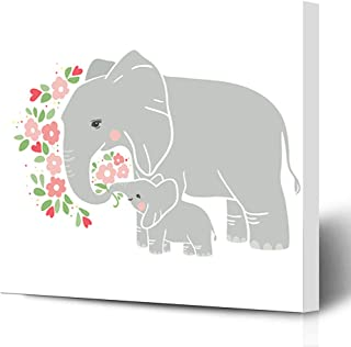 Ahawoso Canvas Prints Wall Art Printing 12x12 Birthday Mom Baby Cute Elephant Mothers Day Animals Wildlife Nature Love Motherhood Spring Kids Painting Artwork Home Living Room Office Bedroom Dorm