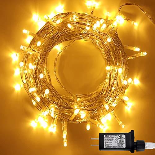 LED Christmas Light (8 Modes), 42.3 ft 100 Counts Warm White Christmas String Lights Single Stranded, Christmas Lights for Indoor or Outdoor Christmas Decorations