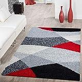 T&T Design - Alfombra lanuda de hilo largo Vigo con estampado en negro, blanco, gris y rojo a un precio excelente, polipropileno, 140 x 200 cm