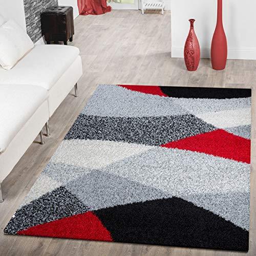 T&T Design Moderner Hochflor Teppich Shaggy Vigo Gemustert in Schwarz Grau Weiß Rot Top Preis!!, Größe:140x200 cm