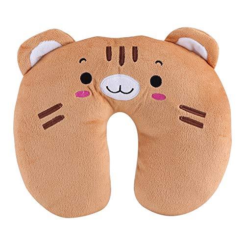 Almohada de Viaje para niños - Forma de u Toy Toy Pillow para Baby Kid, Cuello de Asiento para automóvil de Viaje, Resto de algodón Suave (Color : Tiger)