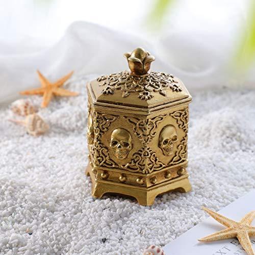 QSQWL Skeleton Kopf Schmuck-Box Schmuck-Halter-Organisator Halloween-Dekorationen Startseite Schädel-Dekor Gold-Andenken Schmuck Schmuck Stash Box,Gold