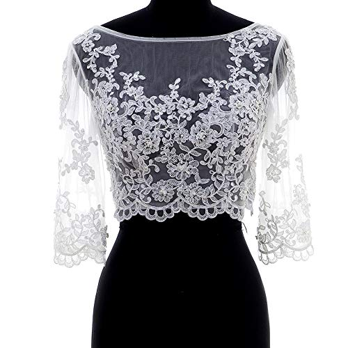 Lace Wedding Jacket Off Shoulder Bridal Bolero With 3/4 Sleeves White 18W