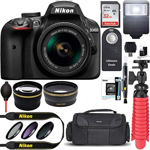 Nikon D3400 24.2 MP DSLR Camera + AF-P DX 18-55mm VR NIKKOR Lens Kit (Black) 32GB SDXC Memory + SLR...